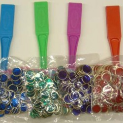MAGNETIC WAND W/ 100 COUNTING / BINGO CHIPS BLUE