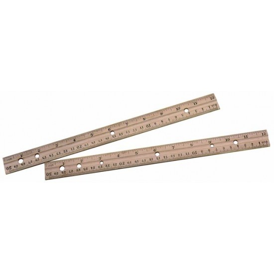 "RULER WOOD 12"" W/STANDARD & METRIC MEASURES"