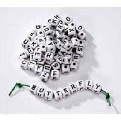 BEAD ALPHABET 12MM ASSORTED LETTERS 80pcs.