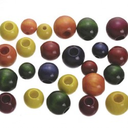BEAD WOOD LARGE ASSORTED COLORS 45 pcs.