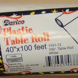 """TABLE ROLL PLASTIC 40"""" X 100' WHITE"""