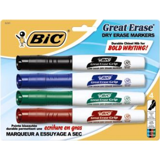 MARKERS DRY ERASE BIC GREAT ERASE GRIP XL ASSORTED COLORS 4ct