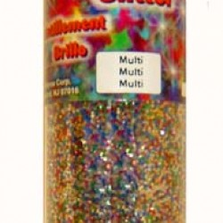 GLITTER IN PLASTIC JAR W/ SHAKER TOP 4 oz. MULTI