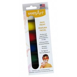 FACE PAINT LIQUID SET of 6-.75 OZ BOTTLES, HANDY ART