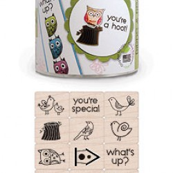 "RUBBER STAMP SET ""INK'N'STAMP"" BIRDS AND BRANCHES 18ct+1INK PADS"