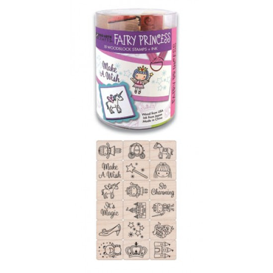 "RUBBER STAMP SET ""INK'N'STAMP"" FAIRY PRINCESS 18 CT. & 1 PAD"