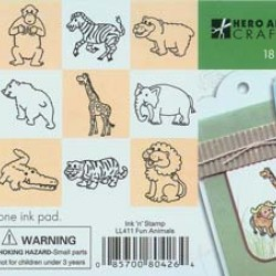"RUBBER STAMP SET ""INK'N'STAMP"" FUN ANIMALS 18ct+2 INK PADS"