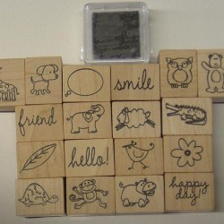 "RUBBER STAMP SET ""INK'N'STAMP"" HAPPY ANIMALS 18 CT. & 1 PAD"