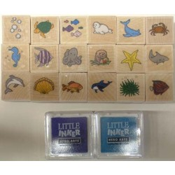 "RUBBER STAMP SET  ""INK'N'STAMP"" SEA LIFE 18ct+2 INK PADS"