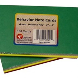 """NOTE CARDS BEHAVIOR GREEN, YELLOW & RED 3"""" X 5""""  100CT."""