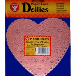 "DOILIES PINK HEART    6"" 100ct."