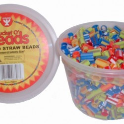 BEADS STRAW STRIPED              IN CONVIENIENT TUB  1000CT.