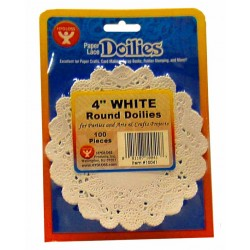 "DOILIES WHITE ROUND  4"" 100ct. Hygloss"