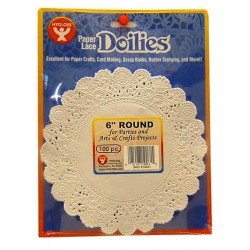 "DOILIES WHITE ROUND  6"" 100ct. Hygloss"