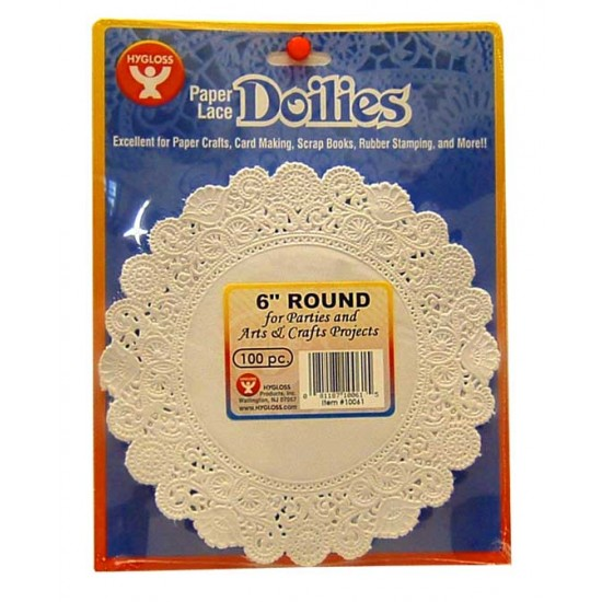 """DOILIES WHITE ROUND  6"""" 100ct. Hygloss"""