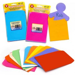 "LIBRARY POCKETS  ""BRIGHT POCKETS"" 30ct ASSORTED COLORS"