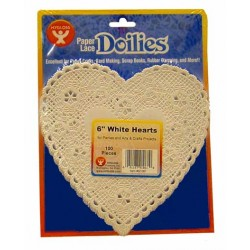 "DOILIES WHITE HEART  6"" 100ct."