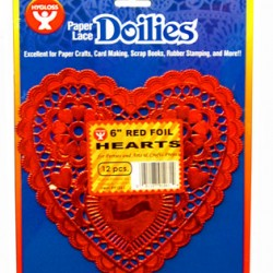 "DOILIES RED HEART FOIL 6"" 12ct."