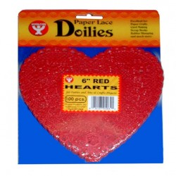 "DOILIES RED HEART    6"" 100ct."