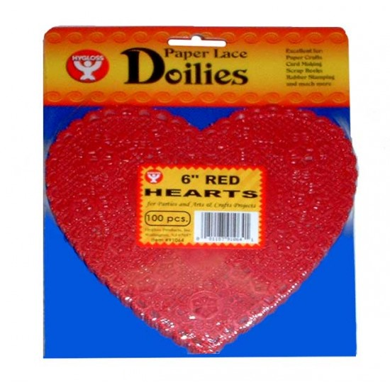 """DOILIES RED HEART    6"""" 100ct"""