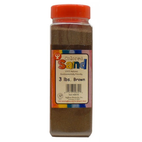 COLORED SAND 3 LB. HYGLOSS IN PLASTIC BOTTLE-BROWN