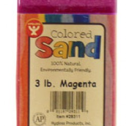 COLORED SAND 3 LB. HYGLOSS IN PLASTIC BOTTLE MAGENTA
