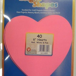 "BRIGHT SHAPES HEART 6"" RED, PINK & WHITE 60# 40 COUNT"