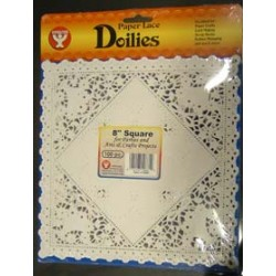 "DOILIES WHITE SQUARE 8"" 100ct. Hygloss"