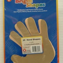 """BRIGHT SHAPES HAND SHAPES  6"""" WIDE 25 ct."""