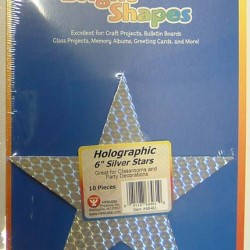 "BRIGHT SHAPES HOLOGRAPHIC SILVER STARS 6"" 10ct"
