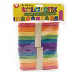 CRAFT STICKS WOOD KOLOR STICKS JUMBO COLORED 100 ct.