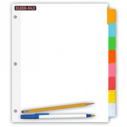 "DIVIDERS WRITE-ON COLOR TABS 8 SUBJECT  8 1/2"" X 11"""