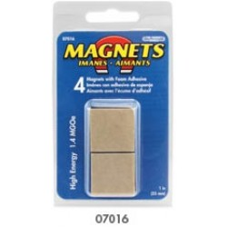 "MAGNET HIGH ENERGY 1"" X 3/16"" SQ. W/ FOAM ADHESIVE 4 ct"
