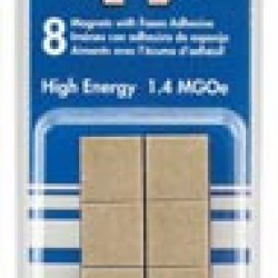 "MAGNET HIGH ENERGY 1/2"" X 3/16"" SQ. W/ FOAM ADHESIVE 8 ct"