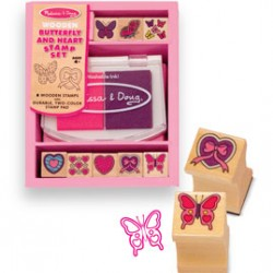 STAMP SET WOODEN BUTTERFLY AND HEART