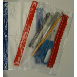 PENCIL POUCH FROSTED VINYL w/ Zipper & 3-Hole Punch: Blue