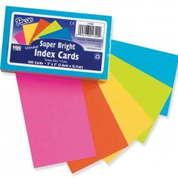 """INDEX CARDS 3""""X5"""" RULED SUPER BRIGHT  75 CT PACON"""