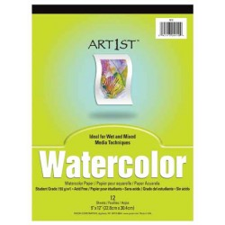 "WATERCOLOR  PAPER TABLET ACID FREE ""ART1st"" 9"" X 12"" 12ct"