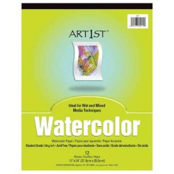 "WATERCOLOR  PAPER TABLET ACID FREE ""ART1st"" 11"" X 14"" 12ct"