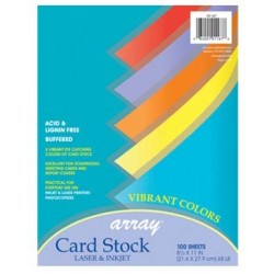 "CARD STOCK ARRAY 8.5  X 11"" 100CT ACID FREE 5 VIBRANT COLORS"