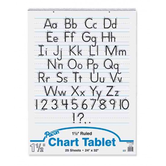"""CHART TABLET SPIRAL  1 1/2"""" RULING  24"""" X 32""""  25 ct from Pacon"""