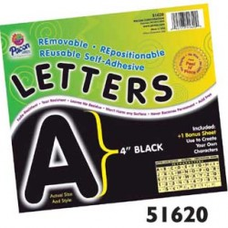 "LETTERS SELF ADHESIVE 4""   78 CHARACTERS PACON  BLACK"