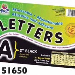 "LETTERS SELF ADHESIVE 2""   159 CHARACTERS PACON  BLACK"