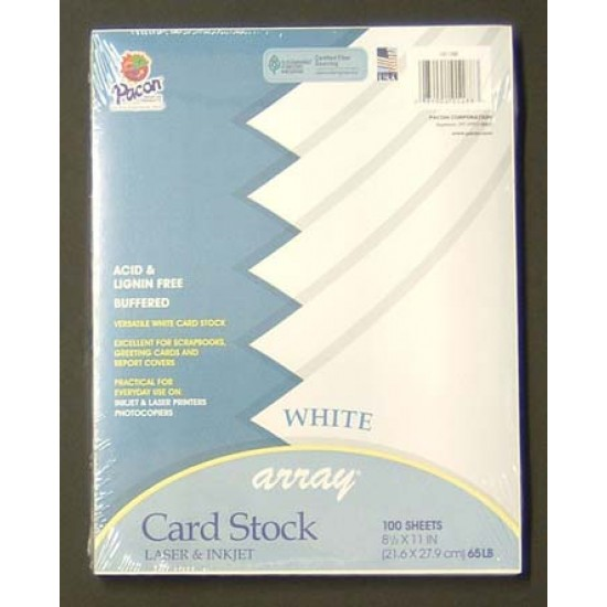"CARD STOCK ARRAY 8.5  X 11"" 100CT ACID FREE WHITE"