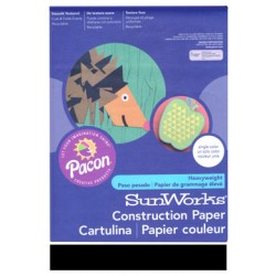 "CONSTRUCTION PAPER 65 lb. 9"" X 12"" 50 ct. BLACK"