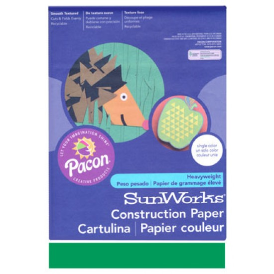 """CONSTRUCTION PAPER 65 lb. 9"""" X 12"""" 50 ct. HOLIDAY GREEN"""