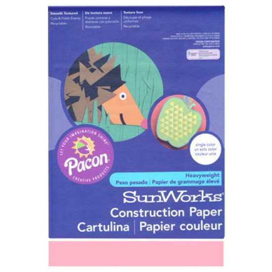 "CONSTRUCTION PAPER 65 lb. 9"" X 12"" 50 ct. PINK"