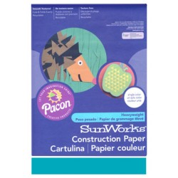 "CONSTRUCTION PAPER 65 lb. 9"" X 12"" 50 ct. TURQUOISE BLUE"