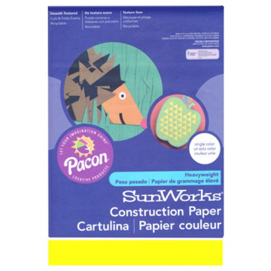 "CONSTRUCTION PAPER 65 lb. 9"" X 12"" 50 ct. YELLOW"