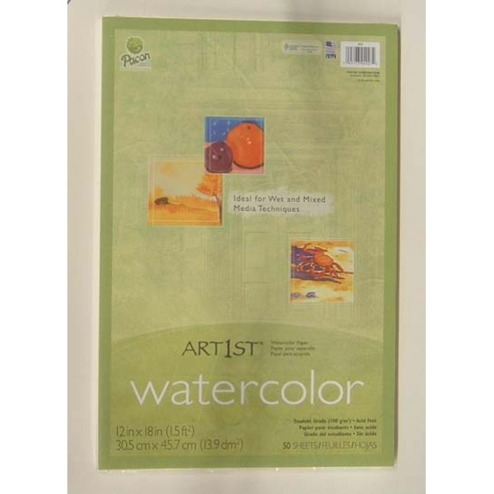 WATERCOLOR PAPER IN PACKS 50 ct 12 X 18  90#  PACON